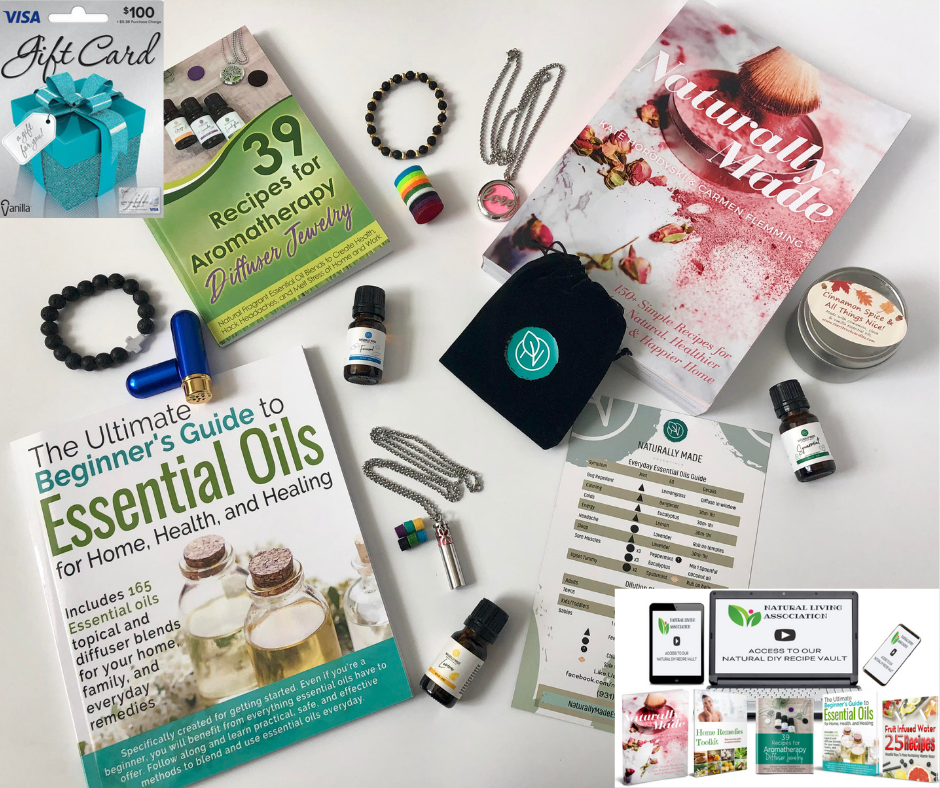Valentines Day Bundle Giveaway! Gifts such as a $100 Visa Gift Card, Essential Oil Necklaces, Candle and more are valued at over $750! Giveaway Image
