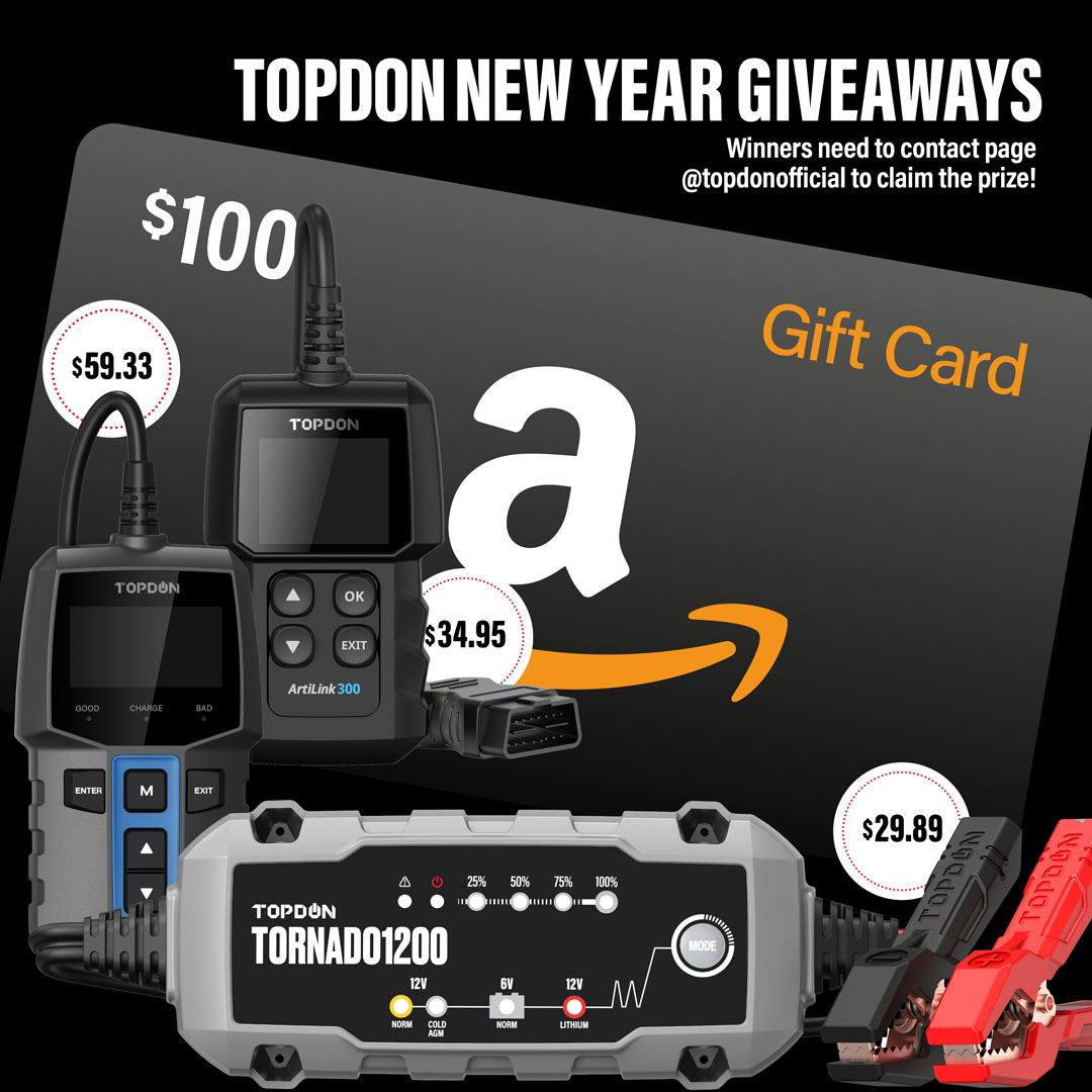 AMAZON Gift Card & TOPDON New Year Giveaways