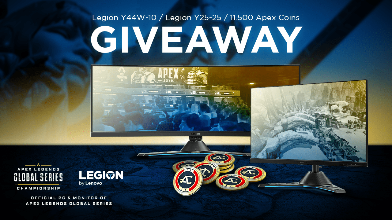 Lenovo Legion Y44w-10 Monitor, Y25-25 Monitor and 8x 11,500 Apex Legends Coins Giveaway Image